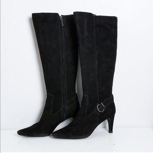 Circa Joan & David Black Suede Heeled Boots